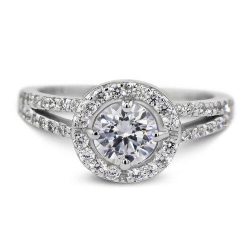 2.06 Carat Round Cut E - VS2 Halo Diamond GIA Engagement Ring sizeable