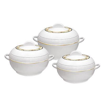 3pc Hot Pot Set Insulated Food Warmer Casserole Serving Pan Dish Round Ambiance Serving Set