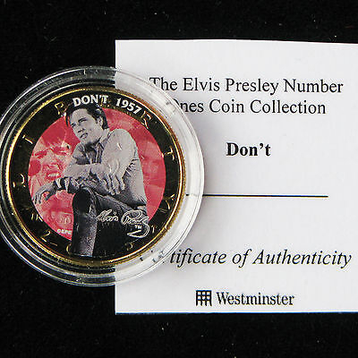 ELVIS PRESLEY COIN USA DON'T 1957 HALF DOLLAR GOLD PLATED CoA CASED