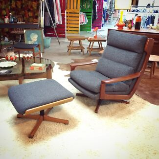 FULLY RESTORED Tessa Delmont Swivel Armchairs & Footstool Retro   Fremantle Fremantle Area Preview
