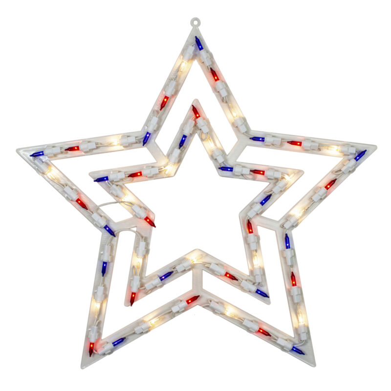 "Northlight 17"" Light  Red, White and Blue Patriotic Star Window Silhouette Decor"