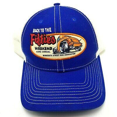 1950s Mens Hats | 50s Vintage Men's Hats Back To The Fifties Minnesota Street Rod Hat Cap Snapback Blue 43rd Annual B1 $7.99 AT vintagedancer.com
