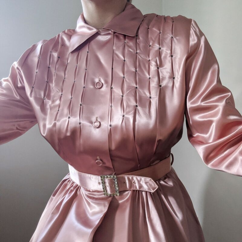 Vintage 30s 40s Dusty Pink Flobert Satin Rhinestone Dressing Gown Dress M