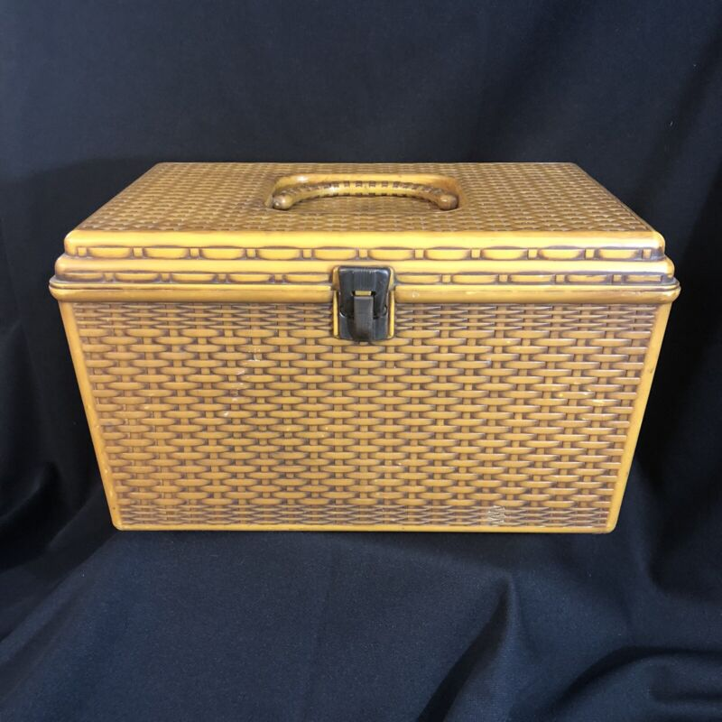 Vintage Wilson Wil-Hold Sewing Box Natural Plastic Basket Weave Woven Pattern