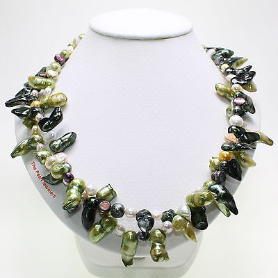 (Baroque Shaped Cultured Pearl Twist Two in One Necklace 925 Silver Clasps TPJ)