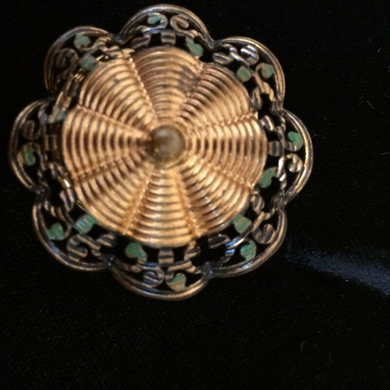 Vintage Scarf Holder Copper Toned with Green Colored Scalloped Edges