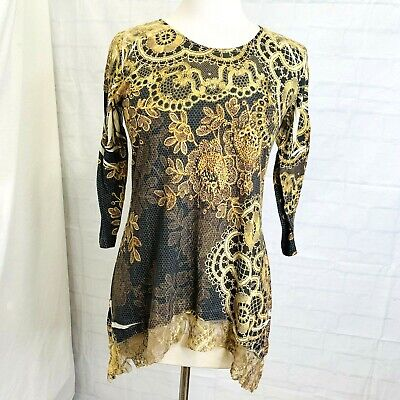 Soma XS Tunic Top Mesh Lined Lace Gold Brown Studs Rhinestones 3/4 Sleeve #J