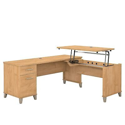 Bush Furniture Somerset 72w 3 Position Sit To Stand L Shaped Desk Maple Cross