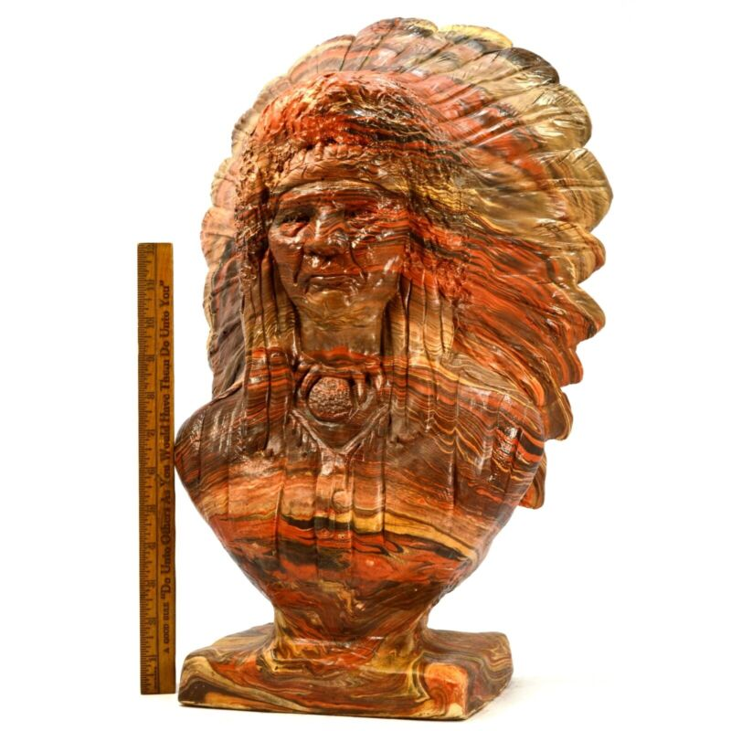 Vintage INDIAN CHIEF BUST-HEAD STATUE Mission Swirl LAYERED CLAY & RESIN 36 lbs!