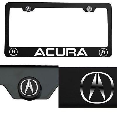 Laser Engraved Acura Mirror Matte Black License Plate Frame T304 Stainless Steel