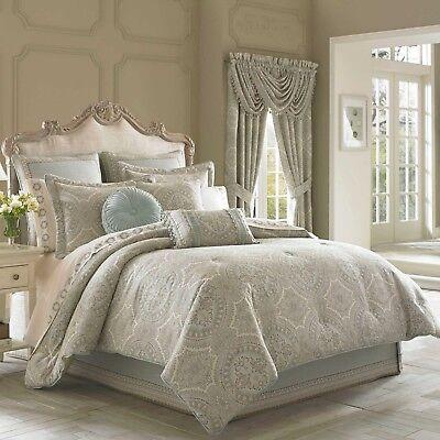 J.QUEEN New York 4-piece KING Comforter Set COLETTE,GRAY, w/Shams, Bedskirt NEW