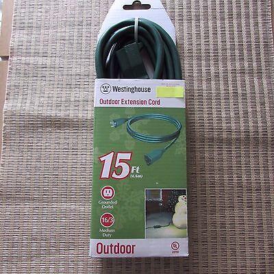 15 foot Outdoor Green Extension Cord medium duty Westinghouse  NIP