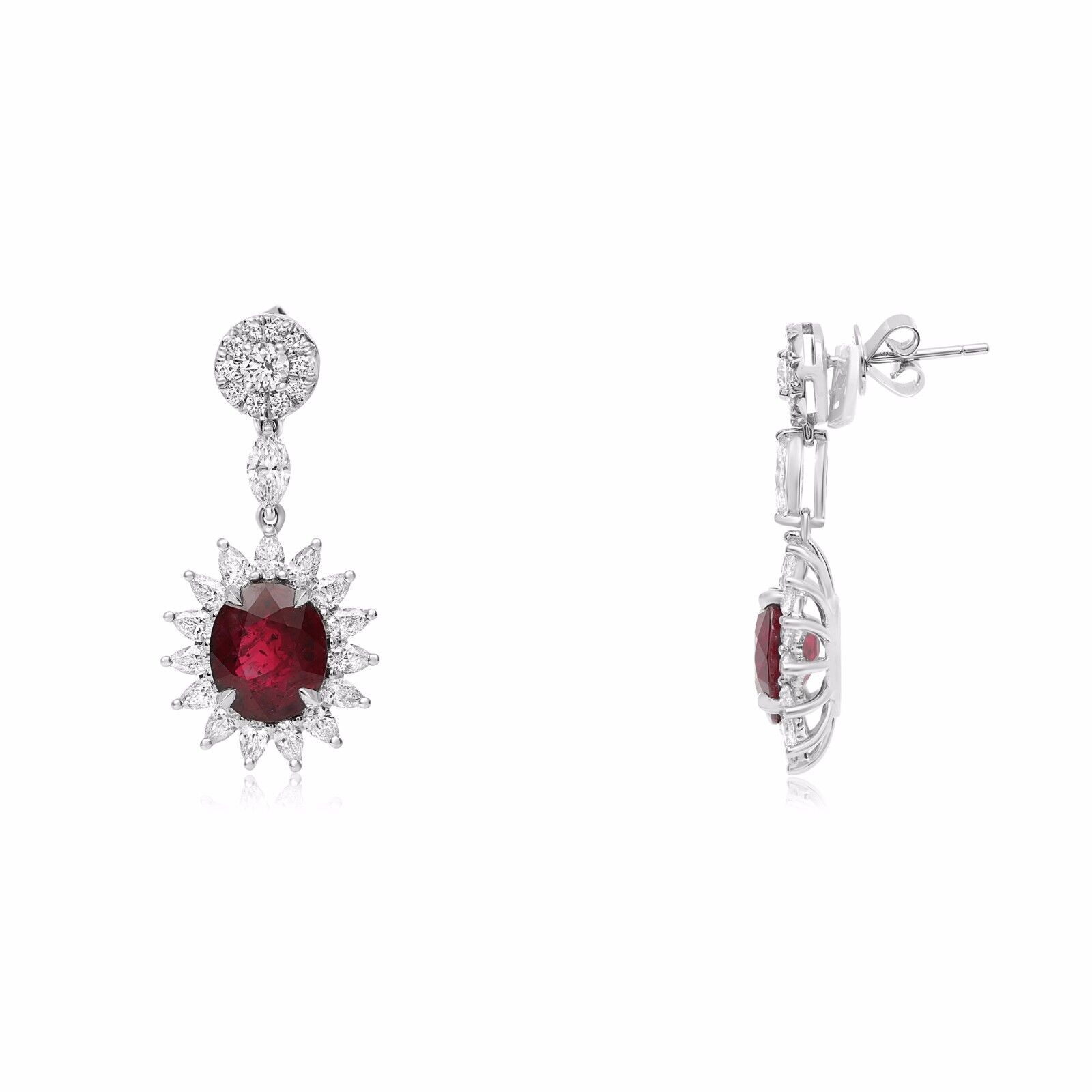 Natural GIA Certified 18K Gold Ruby Earrings with Diamonds 6.72 Carats Rubies