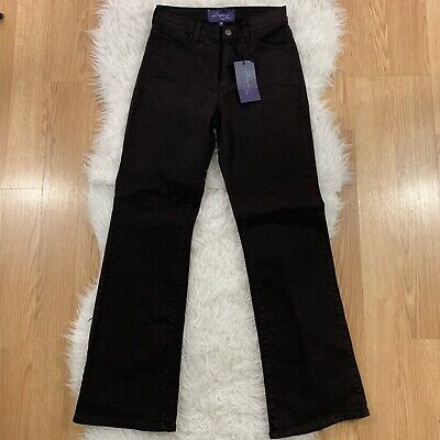 NYDJ Dark Brown Denim Jeans 0P Lift Tuck Boot Cut ()
