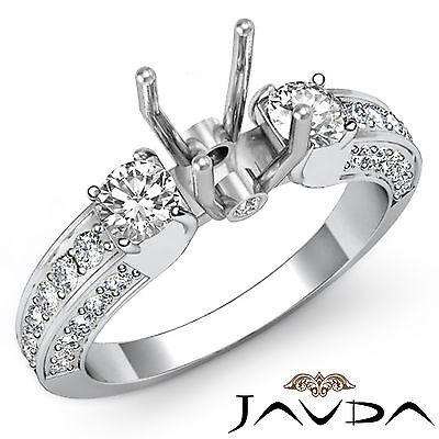 Pre-Set Diamond 3 Stone Engagement Ring 18k White Gold Round Semi Mount 1.15Ct