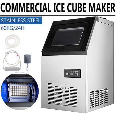 Commercial Ice Machine 132lbs Stainless Steel Ice Cube Maker With 26lbs Storage