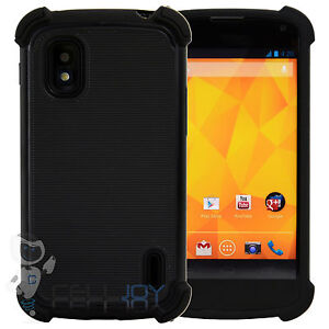 Triple Armor Hybrid Layered Tough Hard Case Cover for LG Google Nexus 4 E960