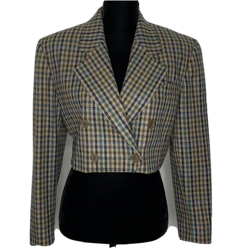 Escada by Margaretha Ley Women's Wool Plaid Vintage Cropped Blazer Size 38 US 8