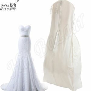 Bridal Wedding Dress Storage Gown Prom Garment Bag Center Zipper Large White