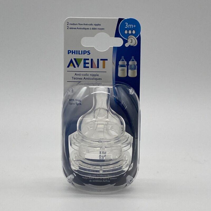 Philips Avent Medium Flow Anti-Colic Baby Bottle Nipple 3M+ (2 Pack)