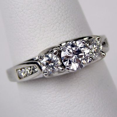 Art Deco Diamond Engagement Ring - 1.18 Ct Art Deco Vintage 3 Stone Round Diamond 14K White Gold Engagement Ring