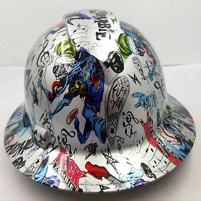 Full Brim Hard Hat Custom Hydro Dipped New Rock Zombie Fk Yeah Killer New