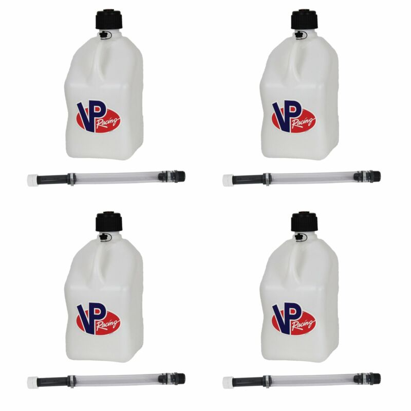 "VP Racing 5 Gal Motorsport Racing Utility Jug Can Container & 14"" Hose (4 Pack)"