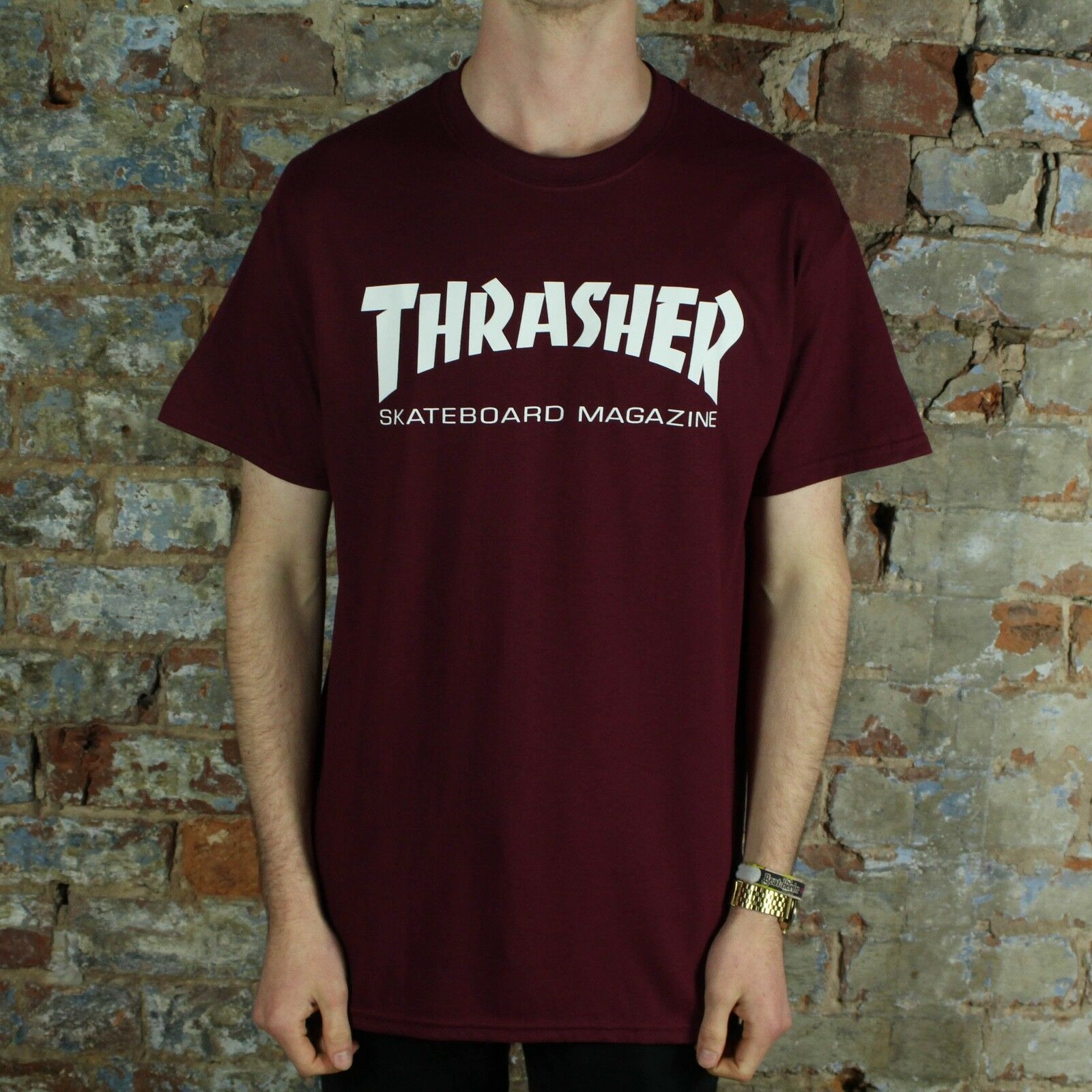 6518b90890a4 Details about Thrasher Stock Skate Mag Logo T-Shirt – Maroon Brand New in  size S