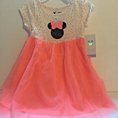 Disney Minnie Mouse Toddler Girl Dress 5T Pink Tulle Glittery Graphic - Minnie Mouse Pink Dress