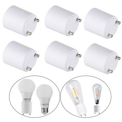 6Pcs LED Lamp Adapter GU24 to Standard E26 / E27 Bulb Holder Socket Converter