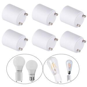 6Pcs LED Lamp Adapter GU24 to Standard E26 / E27 Bulb Holder Socket Converter