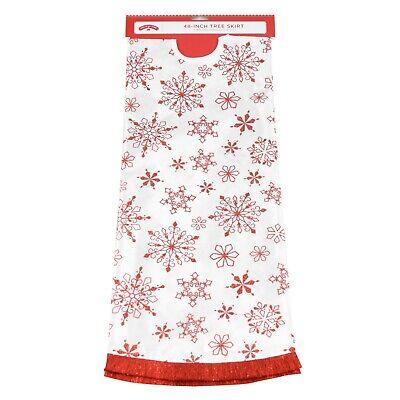 """Holiday Time Tree Skirt Snowflake, Red/white, 48"""""""