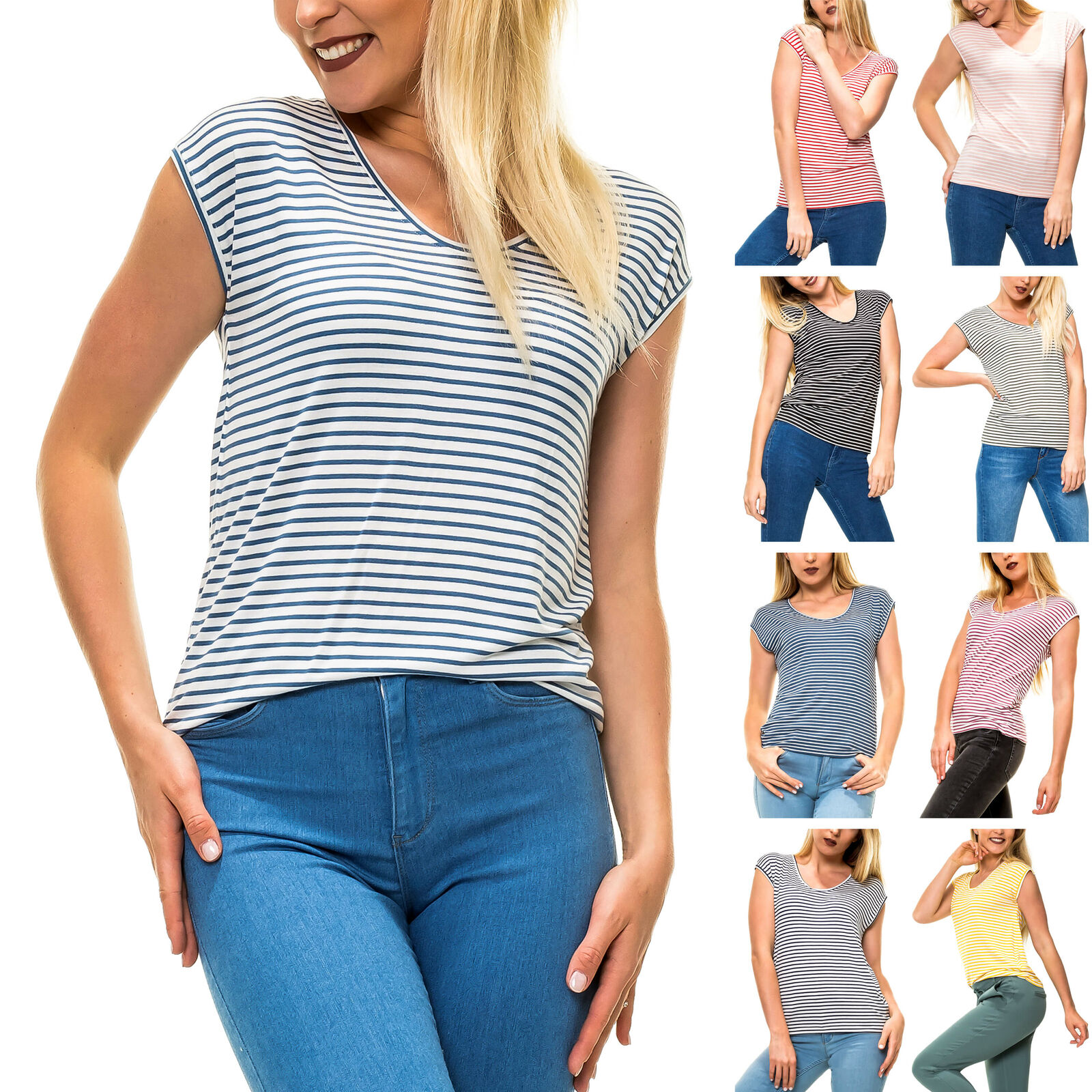 Pieces Damen T-Shirt Shirt Kurzarmshirt Stretch Basic Stripes Color Mix NEU