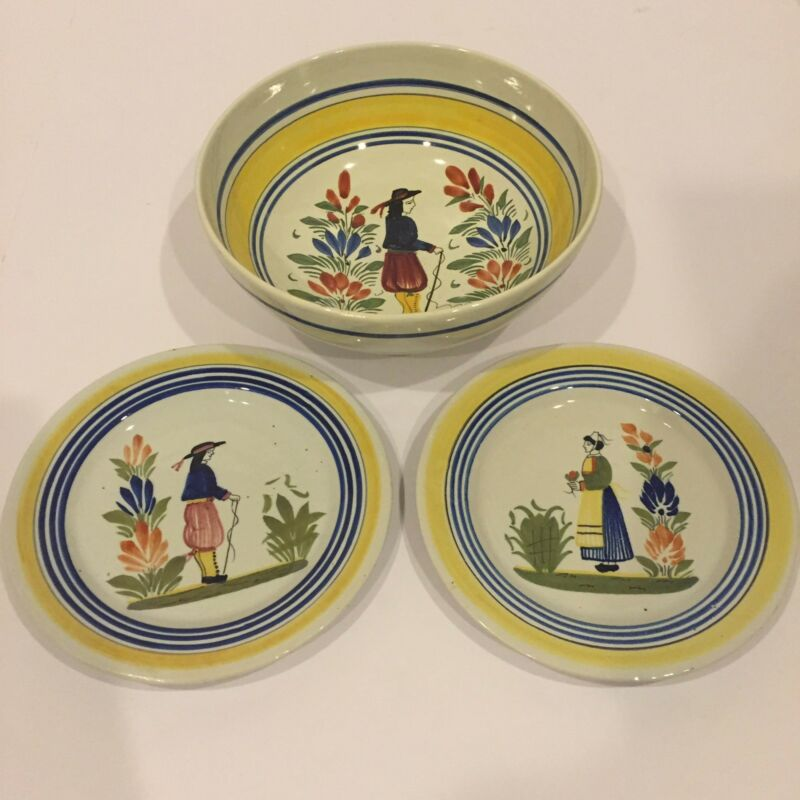 Henriot Quimper France Set Bowl + 2 Plates