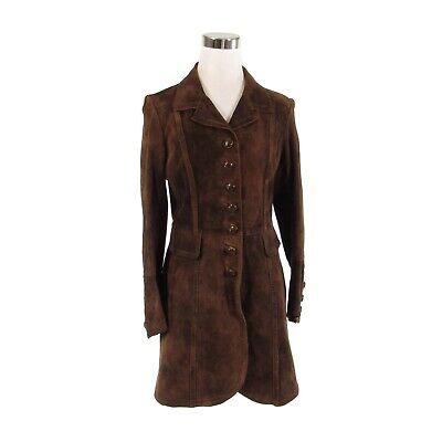 Brown suede leather long sleeve vintage peacoat S