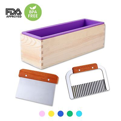 1 Purple Flexible Rectangular Silicone Soap Mold with Large Pine Wood Box for
