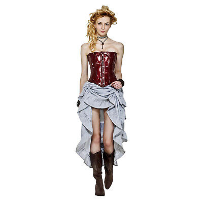 Multi-Style Adjustable Saloon Showgirl Costume Skirt Steampunk Western Pinstripe](Saloon Costumes)