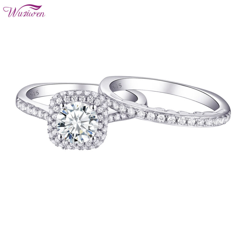 Wuziwen Halo Round Aaaa Cz 925 Sterling Silver Women Wedding Engagement Ring Set
