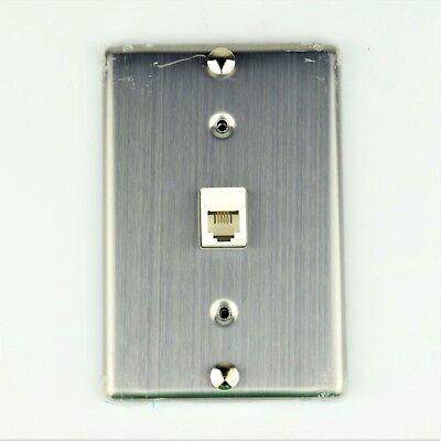 Modular Telephone Jack  Metal  Wall Phone Plate Surface Mount 4P6c Ul Listed