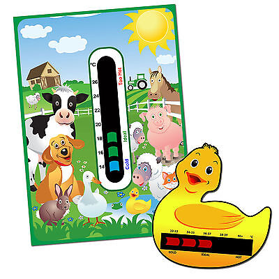 Baby Safe Ideas Farm Nursery Room Thermometer and Duck Bath Thermometer