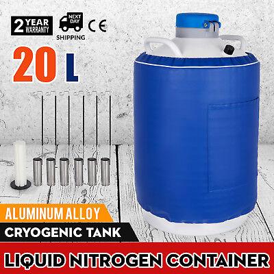 20 L Liquid Nitrogen Tank Ln2 Dewar Cryogenic Container 6 Canisters Usa