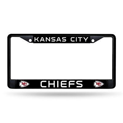 Kansas City Chiefs Authentic Metal BLACK License Plate Frame Auto Truck Car NWT