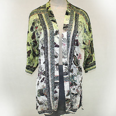 Citron Clothing Art To Wea Butterflies Burnout Open Cardigan Blouse Plus Size 1X - Butterflies Clothing
