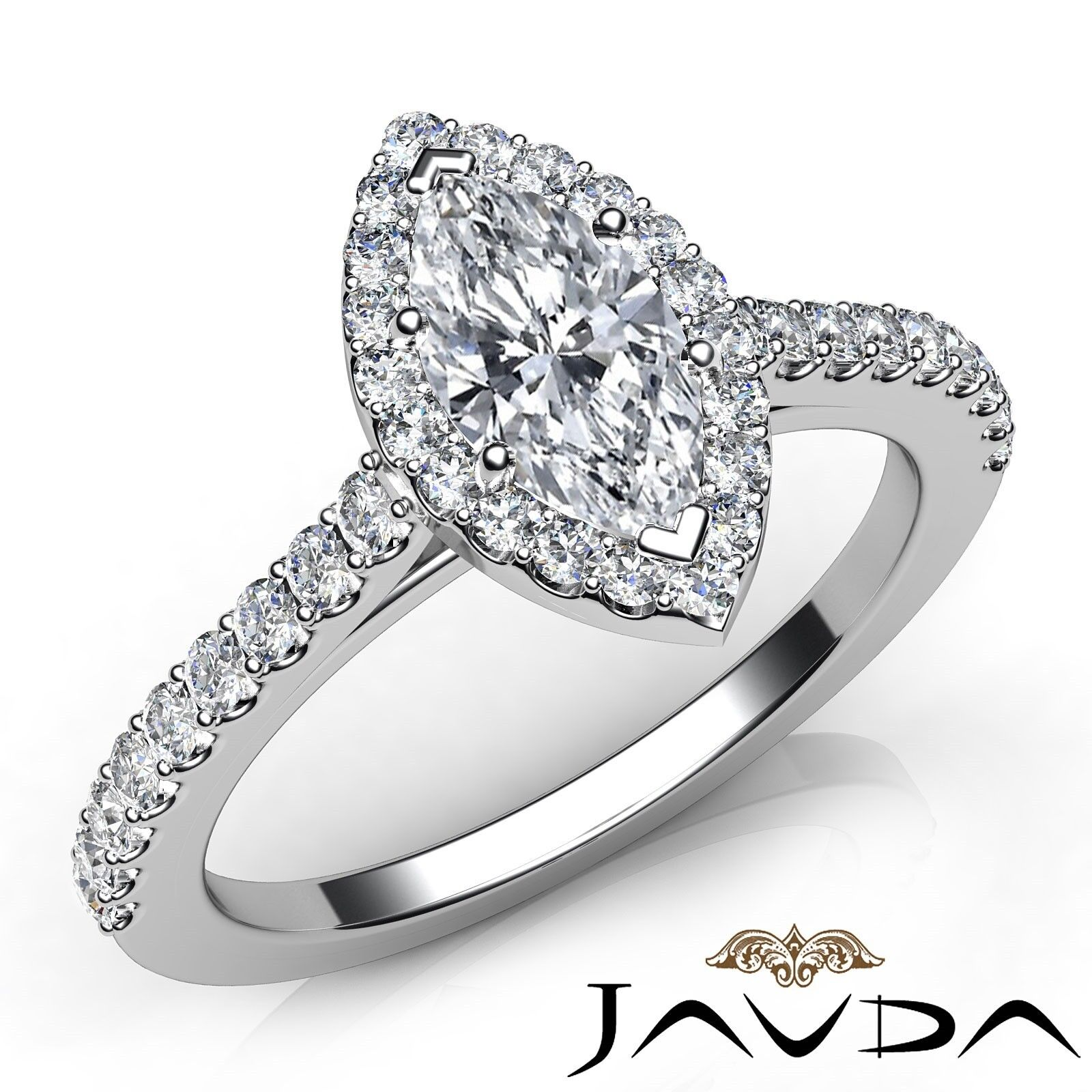1.3ct Halo Pave Side-Stone Marquise Diamond Engagement Ring GIA H-SI1 White Gold