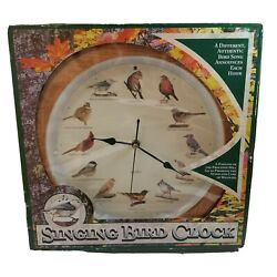 Singing Bird Wall Clock Faux Wood 12 New Authentic Bird Songs Each Hour