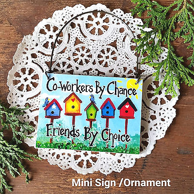 DecoWords Mini SIGN Coworker Friend Wood Ornament Gift Work Job Cubicle New USA