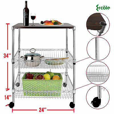 Chrome 3 Tier Wire Shelving Rack Cart With Wood Board Steel Storage Food Service