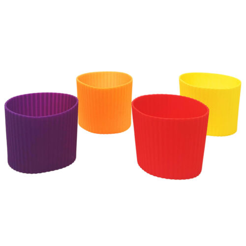 4pcs Heat Resistant Assorted Colors Insulated Silicone Coffee Cup Sleeve (Set C)
