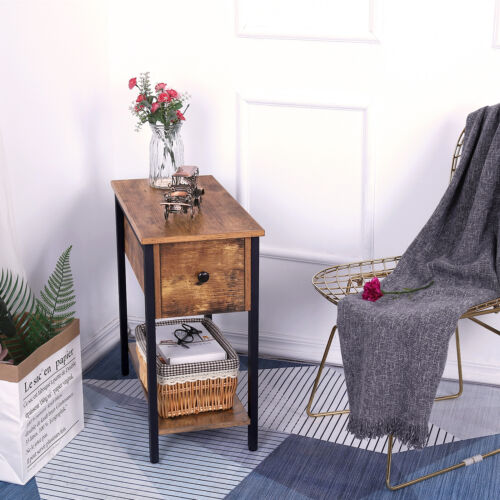 Hoobro Side Table 2-Tier Nightstand with Drawer Narrow End Table for Small Space