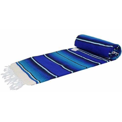 Traditional Mexican Blanket Striped Blue White Ocean Serape Baja Blanket XL